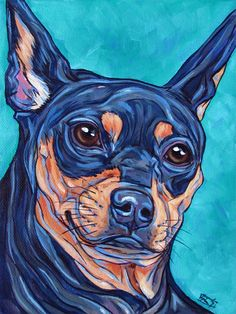 "Mia the Miniature Pinscher Dog Custom Pet Portrait Painting on 6""x 8"" canvas from Pet Portraits by Bethany."