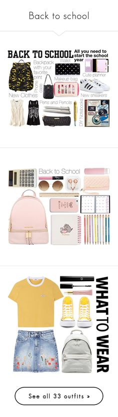 """""""Back to school"""" by princess13inred ❤ liked on Polyvore featuring adidas, kikki.K, American Eagle Outfitters, Betsey Johnson, Tiffany & Co., Alexander McQueen, Monsoon, BackToSchool, backpack and back2school"""