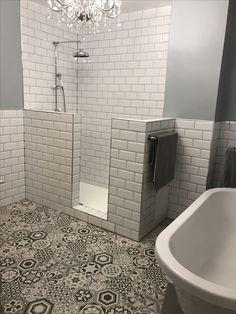 Walk in half wall shower