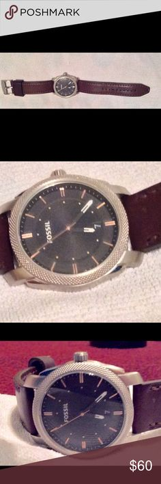 Men's Fossil watch brown leather band, black face Men's Fossil watch genuine brown leather band, black face. Has roped bezel. In great condition owner barely wore it. BUT needs a battery selling as is. Fossil Accessories Watches