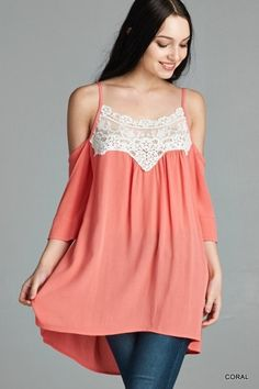 Coral Gauze Off Shoulder Top