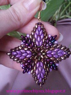 Earrings made with sperduo beads www.misshobby.com... www.facebook.com/... perlineebijoux.bl...