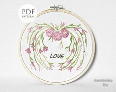 Hand embroidery Pattern Valentine's heart LOVE PDF