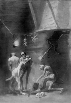 Francisco Goya - The Witches' Kitchen Witch Painting, Witch Art, Painting & Drawing, Spanish Painters, Spanish Artists, Berlin Museum, Desenho Tattoo, Vintage Witch, Arte Horror