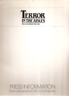 Original Terror in the Aisles Movie Press Kit MCA Universal 1984 Horror Thriller