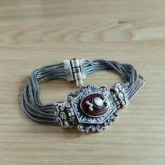 Heritage Carnelian and Ivory Silver Bracelet Old Hollywood Glamour, Carnelian, Sterling Silver Bracelets, Bohemian Style, Ivory, Leather, Jewelry, Fashion, Moda