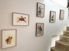 Artworks by Pascale Chandler and Lisette Forsyth hun along a staircase in the collectors home in Cape Town. Selling Artwork, Home, Wall Of Fame, Gallery Wall, New Homes, Staircase, Hanging, Hanging Art