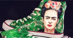 These Hand-Painted Frida Kahlo Sneakers Are a True Masterpiece Art Shoes, Shoe Art, Painted Sneakers, Painted Shoes, Frida Kahlo Party Decoration, Kahlo Paintings, Converse, Cultural Appropriation, Fashion Painting