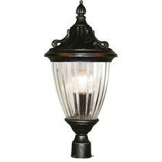 Z-Lite Waterloo Collection Black Silver Finish Outdoor Post Light