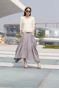 Lagenlook Maxi Skirt with two side Pockets Linen by Sophiaclothing