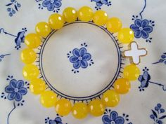 Yellow Agate and Cross Charm Stackable Stretch by FiveEtsyJewelry, $25.00
