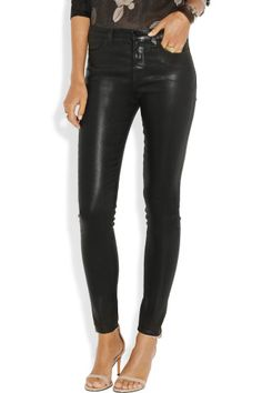 J Brand | The Maria coated high-rise skinny jeans | NET-A-PORTER.COM
