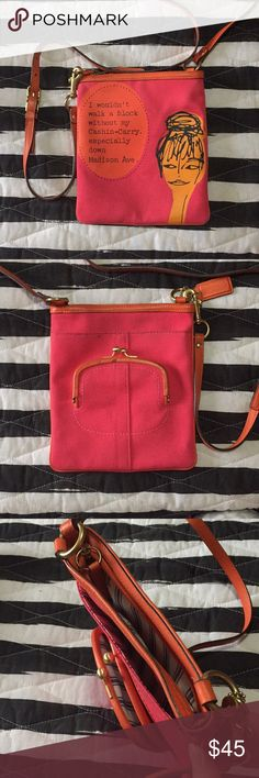 Coach Bonnie Cashin Crossbody Purse Don't walk a block without this Cashin-Carry! Gorgeous and Vibrant pink and orange Bonnie Cashin crossbody with built-in coin purse three small marks on the back as pictured Coach Bags Crossbody Bags