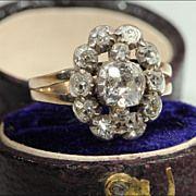 Antique Georgian Full Cut Diamond Cluster Ring, 18k Silver Set ~ Lovely!
