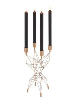 Hand-welded sculptural candle sticks in copper -plated steel rod. Designed for the dining table, inspired by bridges and electricity pylons.