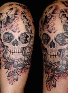 Butterflies and sugar skull tattoo #TattooModels #tattoo