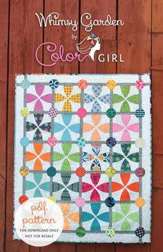 Whimsy Garden modern curved piecing quilt pattern
