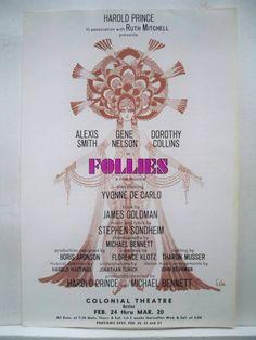 Follies Herald Stephen Sondheim Alexis Smith Gene Nelson Tryout Boston 1971 | eBay