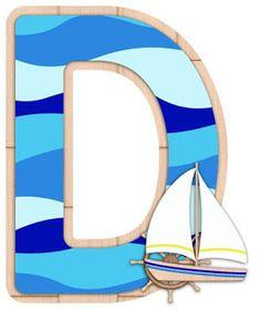 Escuela infantil castillo de Blanca: ALFABETO CON BARCO Alphabet Templates, Alphabet Art, Monogram Alphabet, Alphabet And Numbers, Nautical Letters, Nautical Baby, 2nd Birthday Photos, I Love The Beach, Sea Theme