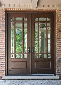 Brown Wooden Entry Double Door With Three Quarter Lite And Black Handle Combined Brick Wall As Well As Replacement Front Doors Also Wooden Front Doors With Side Panels. Alluring Wooden Front Doors With Glass For Luxurious Exterior Double Front Entry Doors, Double Doors Exterior, Exterior Doors With Glass, Entry Doors With Glass, Wood Entry Doors, Front Door Entrance, Wooden Front Doors, House Front Door, Glass Front Door