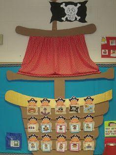 Mrs Jumps class: Pirates and Pete the Cat Classroom Design, Classroom Displays, Kindergarten Classroom, Classroom Themes, Classroom Organization, Pirate Preschool, Pirate Activities, Pirate Day, Pirate Theme