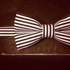 Black and White Striped Bow Tie by raexarts