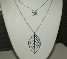 Leaf Necklace, Bird Necklace, Double Necklace by groovychickjewelry, $16.50