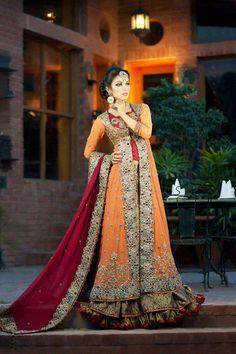 orange and red lengha sherwani