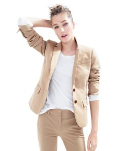J.Crew Thompson blazer and Cambell trouser bi-stretch cotton suit in dusty dune.