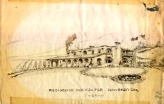 Pen and ink sketch of proposed house to be built on the 500-acre ranch purchased by citrus grower John Henry Show in 1920. The ranch's boundaries encompassed much of what is today Woodland Hills. The house itself was built in 1928, following a somewhat modified design, with stained glass windows and poured concrete interior walls 16 to 18 inches thick. Sketch by L.G. Knipe dates from 1926-1927. San Fernando Valley History Digital Library.