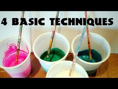 Fluid-Art: The 4 BASIC TECHNIQUES. Puddle pour, dirty pour, flip cup, swipe. Acrylic paint pouring - YouTube