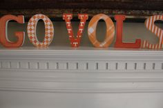 GO VOLS Wooden Vintage Mantle/Shelf Letters for the University of Tennessee