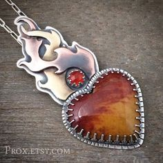 Finished another. Christmas Jasper, and a rose cut carnelian. Weird Jewelry, Metal Jewelry, Pendant Jewelry, Unique Jewelry, Artisan Jewelry, Handmade Jewelry, Pretty Necklaces, Arte Popular, Pendant Design