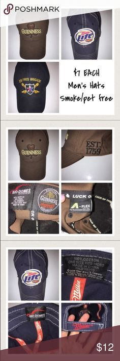 """Men's hats $7 EACH: ARMY, Guinness, Miller Lite 📦Same day shipping (excluding Sun/holidays or orders placed after P.O. Closed) ❤️Save on shipping: Add all of your """"likes"""" to a bundle and submit an offer  The last 3 photos are close up shots of each individual hat displaying size, material content & any info listed inside of the hat. Smoke/pet free home. PRICE FIRM unless bundled. Make your selection by listed name: GUINNESS, Miller Lite, or ARMY. Each hat will come with clip to hang from a…"""