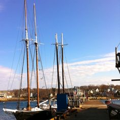 Schooners tied up at Rocky Neck  Railways in East Gloucester, MA