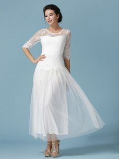 Shop White Embroidery Detail Lace Panel Half Sleeve Maxi Dress from choies.com .Free shipping Worldwide.$41.99