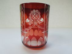 Bohemian Czech Cut To Clear Etched Ruby Red Tumbler Glass Christmas Wedding Anniversary Birthday Gift by ColorfullGifts on Etsy