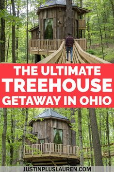 Here's a unique and memorable vacation in Ohio: staying in luxury treehouses! These are beautiful treehouses and cabins in the forest where you can spend a peaceful night in nature. Treehouse accommodation | Cabins in the USA | Treehouses Hotel USA | Treehouse hotel | Treehouse Rentals | The Mohicans Ohio | Treehouse Airbnb | Treehouse to live in | Treehouse vacation rentals | Treehouse camping | Treehouse resort | Luxury cabins | Luxury treehouse | Unique accommodation | Glamping in Ohio