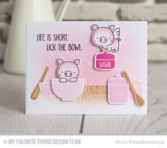 Kitschy Kitchen Stamp Set and Die-namics, You Bake Me Happy Stamp Set, Hog Heaven Stamp Set and Die-namics, Floral Fantasy Background - Anna Kossakovskaya  #mftstamps