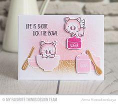 Kitschy Kitchen Stamp Set and Die-namics, You Bake Me Happy Stamp Set, Hog Heaven Stamp Set and Die-namics, Floral Fantasy Background - Anna Kossakovskaya  #mftstamps
