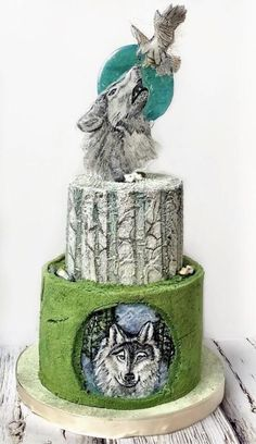 Wolf blue moon cake - cake by Beautiful Cakes, Amazing Cakes, Wolf Cake, Moon Cake Mold, Anime Cake, Cake Packaging, Cupcake Art, Forest Cake, Types Of Cakes