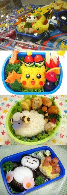 Pokemon Bento of Pikachu, Mareep and Snowlax! Cute Bento Boxes, Bento Box Lunch, Sushi, Anime Bento, Bento Recipes, Bento Ideas, Kawaii Bento, Little Lunch, Cafe Food