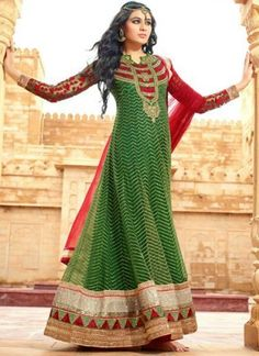 Green Thread Work Zari Lace Border Net Party Wear Anarkali  Salwar Kameez  http://www.angelnx.com/Salwar-Kameez/Anarkali-Suits