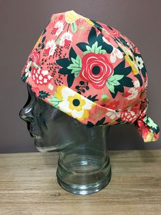 Coral Scrub Hat with Red, Yellow & White Roses, Beautiful Women's Floral Pixie Scrub Cap, Custom Caps Company by CustomCapsCompany on Etsy