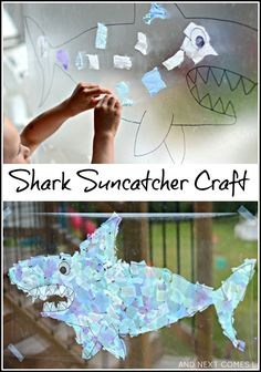 Giant Shark Suncatcher Craft Light Reflections Series - Contact Paper Crafts Are So Easy To Do But I Particularly Love Using Contact Paper To Make Suncatchers Because They Let Just The Right Amount Of Light Through Weve Made Handprint Suncatchers Shark Activities, Preschool Activities, Vocabulary Activities, Spanish Activities, Sea Crafts, Light Crafts, Projects For Kids, Crafts For Kids, Shark Craft