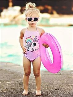 Girls Pink Halter Unicorn Print Backless One Piece Swimsuit - 0-6M - Girls One Piece Swimsuit Backless One Piece Swimsuit, Girls One Piece Swimsuit, Pink Swimsuit, Kids Swimwear, Swimsuits, Girls Dresses, Flower Girl Dresses, Holiday Wardrobe, Beautiful Little Girls