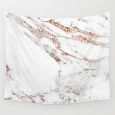 Rose gold foil marble wall tapestry on Society6