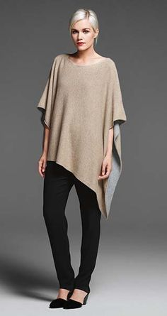 EILEEN FISHER New Arrivals: Plaited Cashmere Poncho, Silk Slouchy Pant + Lilly Pump