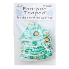 Beba Bean   5-Pack Pee-Pee Teepee In Jungle - The cone-shaped Pee-Pee Teepee from beba bean makes diaper changes for little boys dry and easy. It comes in a handy 5-pack with adorable prints or classic solids. Washable and reusable, it makes a practical shower gift that will bring chuckles, too.