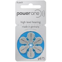 PowerOne Size 675 Mercury Free Hearing Aid Batteries - 10 Packs of 6 Cells + Free Battery Caddy